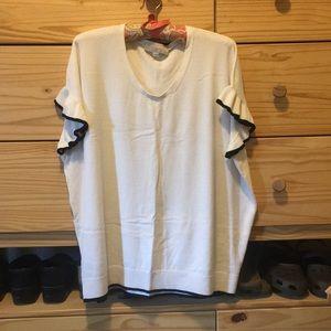 XL Petite Loft Ruffle Sleeve Sweater